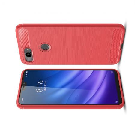 Carbon Fibre Силиконовый матовый бампер чехол для Xiaomi Mi 8 Lite Коралловый