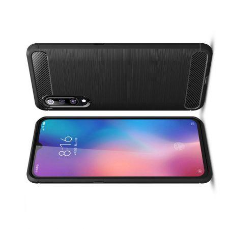 Carbon Fibre Силиконовый матовый бампер чехол для Xiaomi Mi 9 Черный