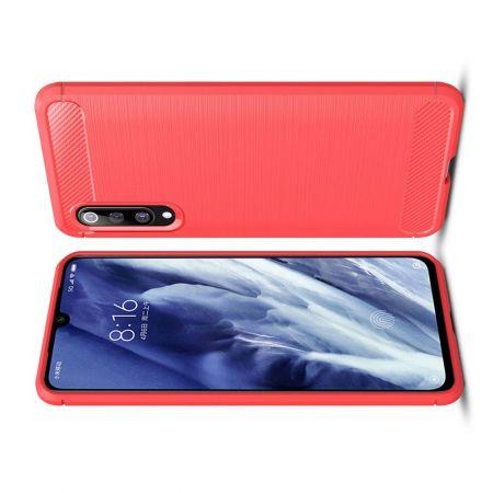 Carbon Fibre Силиконовый матовый бампер чехол для Xiaomi Mi 9 Pro Красный