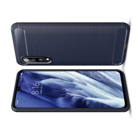 Carbon Fibre Силиконовый матовый бампер чехол для Xiaomi Mi 9 Pro Синий
