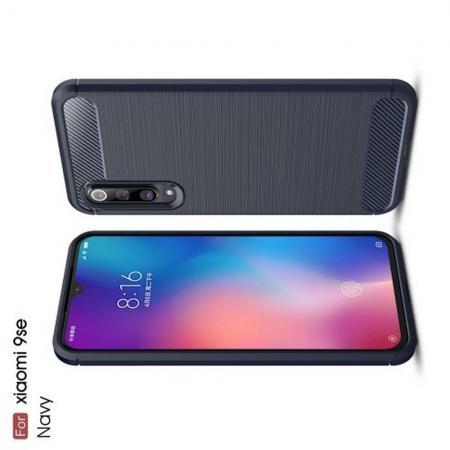 Carbon Fibre Силиконовый матовый бампер чехол для Xiaomi Mi 9 SE Синий