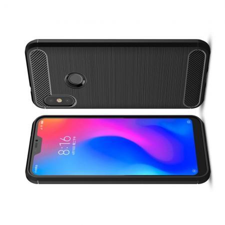 Carbon Fibre Силиконовый матовый бампер чехол для Xiaomi Mi A2 Lite / Redmi 6 Pro Черный