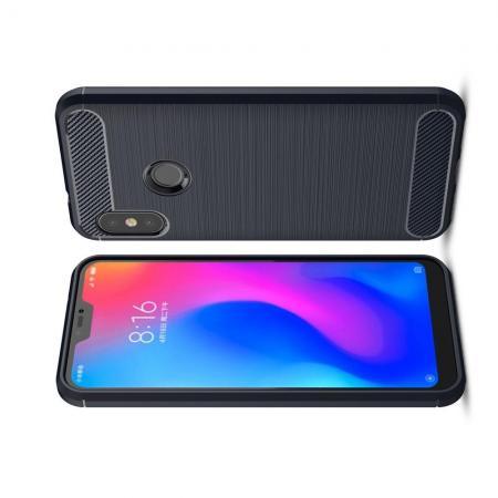 Carbon Fibre Силиконовый матовый бампер чехол для Xiaomi Mi A2 Lite / Redmi 6 Pro Синий