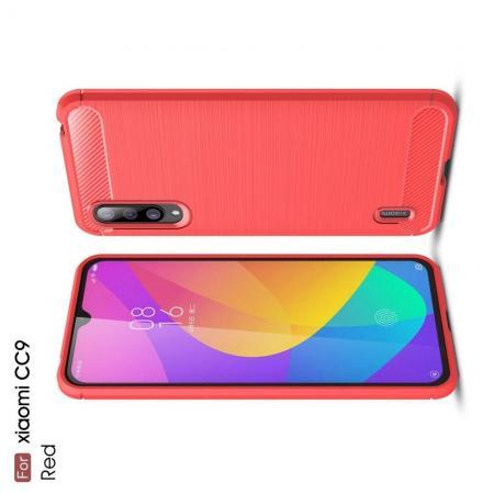 Carbon Fibre Силиконовый матовый бампер чехол для Xiaomi Mi CC9 Коралловый