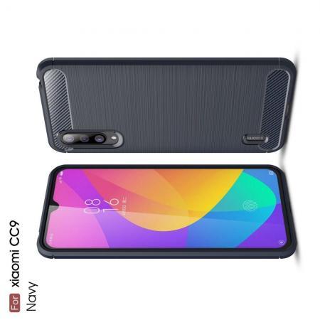 Carbon Fibre Силиконовый матовый бампер чехол для Xiaomi Mi 9 Lite Синий