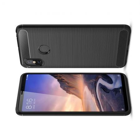Carbon Fibre Силиконовый матовый бампер чехол для Xiaomi Mi Max 3 Черный