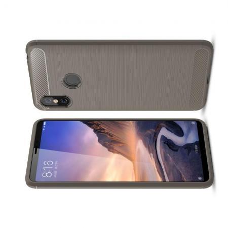 Carbon Fibre Силиконовый матовый бампер чехол для Xiaomi Mi Max 3 Серый