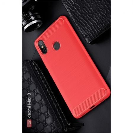 Carbon Fibre Силиконовый матовый бампер чехол для Xiaomi Mi Max 3 Красный
