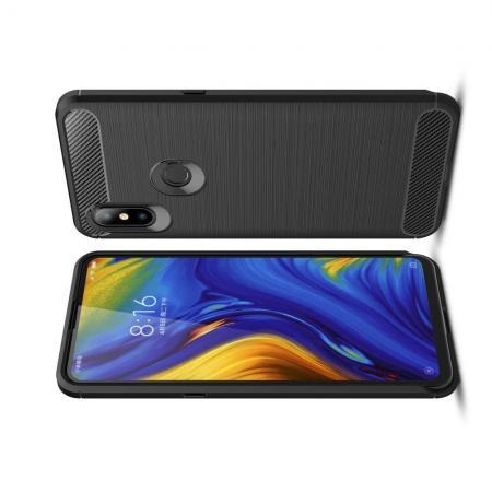 Carbon Fibre Силиконовый матовый бампер чехол для Xiaomi Mi Mix 3 Черный