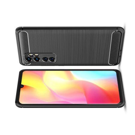Carbon Fibre Силиконовый матовый бампер чехол для Xiaomi Mi Note 10 Lite Черный