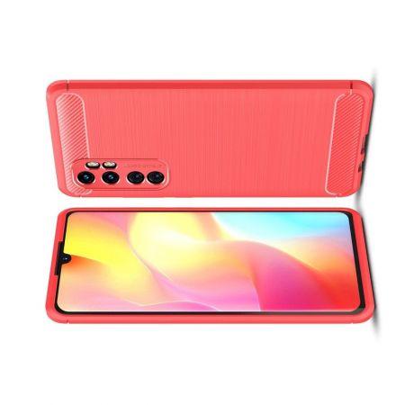 Carbon Fibre Силиконовый матовый бампер чехол для Xiaomi Mi Note 10 Lite Красный
