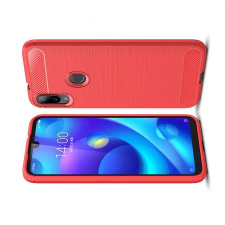 Carbon Fibre Силиконовый матовый бампер чехол для Xiaomi Mi Play Коралловый