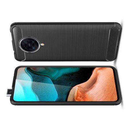 Carbon Fibre Силиконовый матовый бампер чехол для Xiaomi Poco F2 Pro Черный