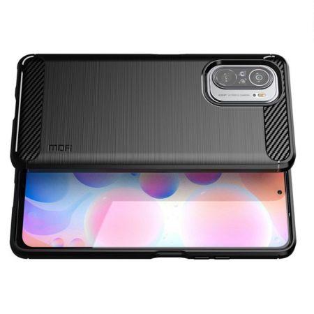 Carbon Fibre Силиконовый матовый бампер чехол для Xiaomi POCO F3 Черный