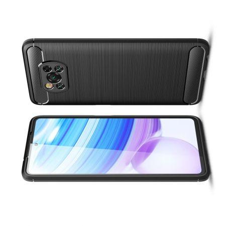Carbon Fibre Силиконовый матовый бампер чехол для Xiaomi Poco X3 NFC Черный