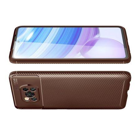 Carbon Fibre Силиконовый матовый бампер чехол для Xiaomi Poco X3 NFC Коричневый