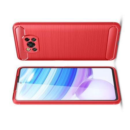 Carbon Fibre Силиконовый матовый бампер чехол для Xiaomi Poco X3 NFC Красный