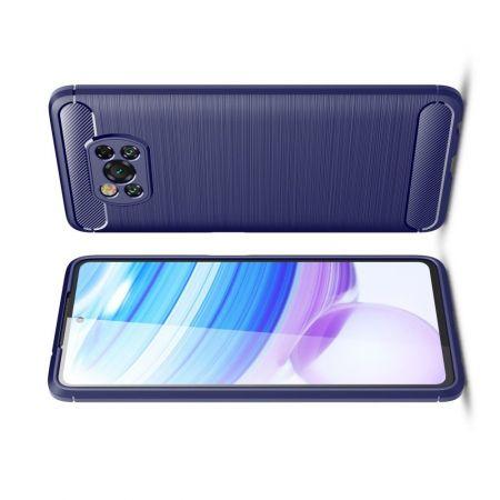 Carbon Fibre Силиконовый матовый бампер чехол для Xiaomi Poco X3 NFC Синий