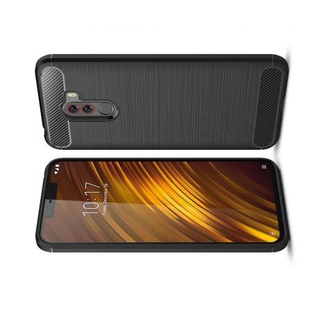 Carbon Fibre Силиконовый матовый бампер чехол для Xiaomi Pocophone F1 Черный