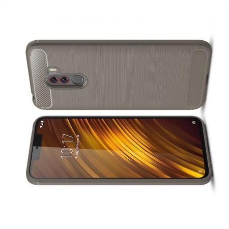 Carbon Fibre Силиконовый матовый бампер чехол для Xiaomi Pocophone F1 Серый