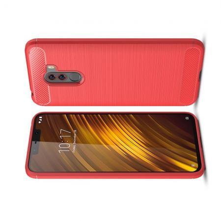 Carbon Fibre Силиконовый матовый бампер чехол для Xiaomi Pocophone F1 Коралловый