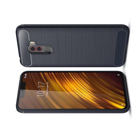 Carbon Fibre Силиконовый матовый бампер чехол для Xiaomi Pocophone F1 Синий