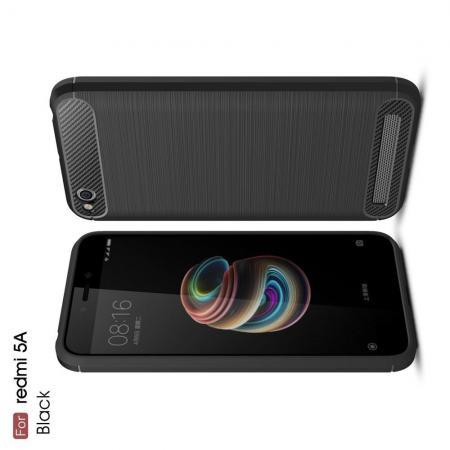 Carbon Fibre Силиконовый матовый бампер чехол для Xiaomi Redmi 5a Черный