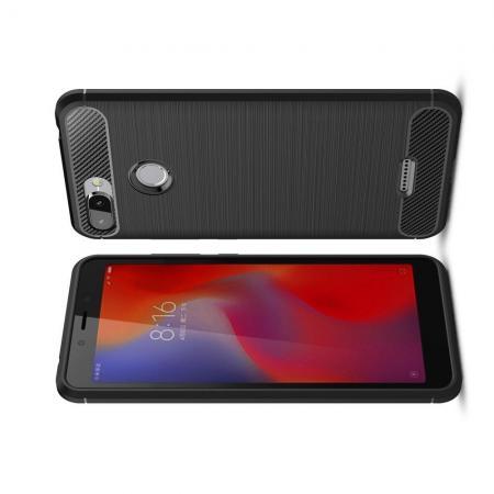 Carbon Fibre Силиконовый матовый бампер чехол для Xiaomi Redmi 6 Черный
