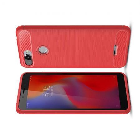 Carbon Fibre Силиконовый матовый бампер чехол для Xiaomi Redmi 6 Коралловый