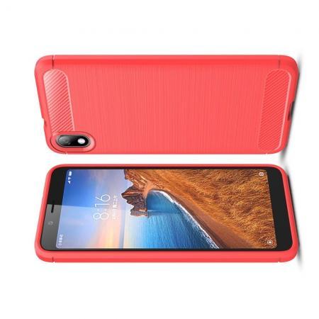 Carbon Fibre Силиконовый матовый бампер чехол для Xiaomi Redmi 7A Коралловый