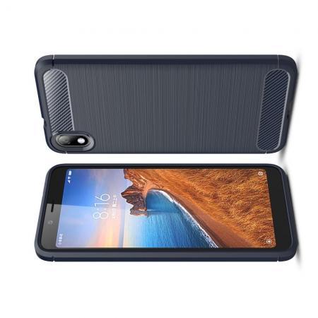 Carbon Fibre Силиконовый матовый бампер чехол для Xiaomi Redmi 7A Синий цвет
