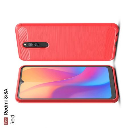 Carbon Fibre Силиконовый матовый бампер чехол для Xiaomi Redmi 8A / Redmi 8 Красный