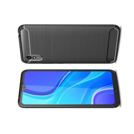 Carbon Fibre Силиконовый матовый бампер чехол для Xiaomi Redmi 9A Черный