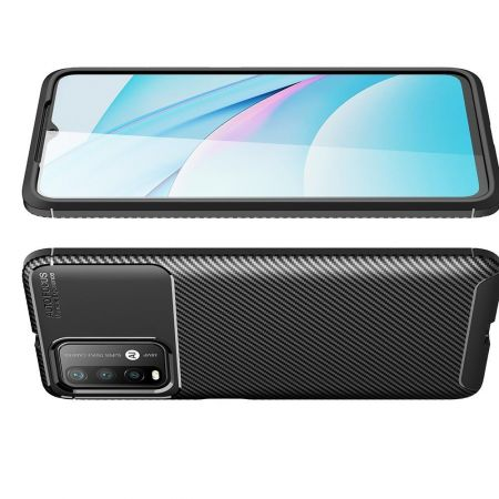 Carbon Fibre Силиконовый матовый бампер чехол для Xiaomi Redmi 9T Черный
