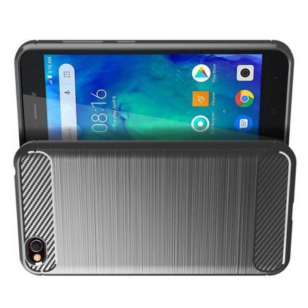 Carbon Fibre Силиконовый матовый бампер чехол для Xiaomi Redmi Go Серый