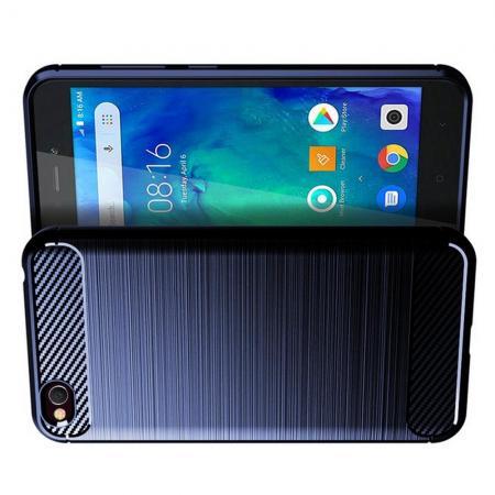 Carbon Fibre Силиконовый матовый бампер чехол для Xiaomi Redmi Go Синий