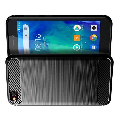 Carbon Fibre Силиконовый матовый бампер чехол для Xiaomi Redmi Go Черный