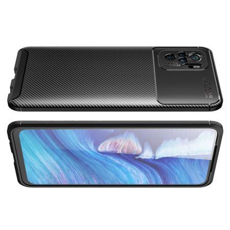 Carbon Fibre Силиконовый матовый бампер чехол для Xiaomi Redmi Note 10 Черный