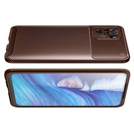 Carbon Fibre Силиконовый матовый бампер чехол для Xiaomi Redmi Note 10 Коричневый