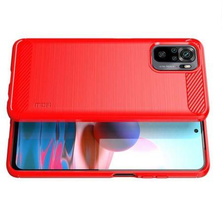 Carbon Fibre Силиконовый матовый бампер чехол для Xiaomi Redmi Note 10 Красный