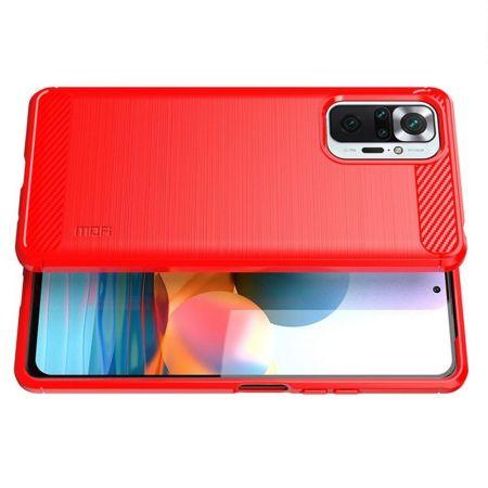 Carbon Fibre Силиконовый матовый бампер чехол для Xiaomi Redmi Note 10 Pro Красный