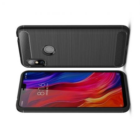 Carbon Fibre Силиконовый матовый бампер чехол для Xiaomi Redmi Note 6 / Note 6 Pro Черный