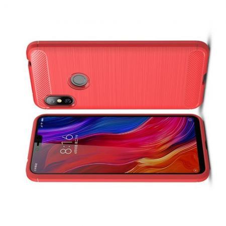 Carbon Fibre Силиконовый матовый бампер чехол для Xiaomi Redmi Note 6 / Note 6 Pro Коралловый