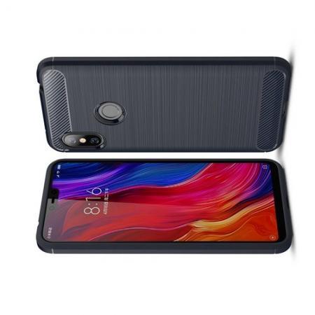 Carbon Fibre Силиконовый матовый бампер чехол для Xiaomi Redmi Note 6 / Note 6 Pro Синий