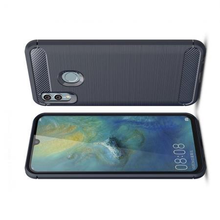 Carbon Fibre Силиконовый матовый бампер чехол для Xiaomi Redmi Note 7 / Note 7 Pro Синий