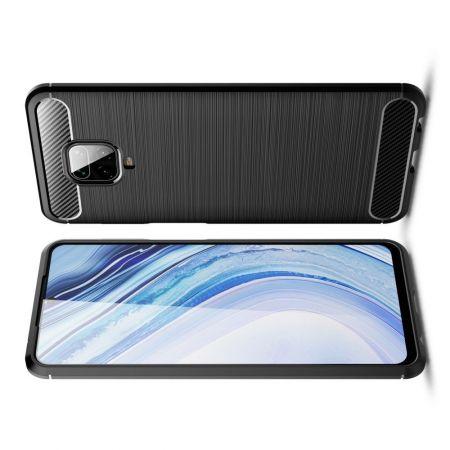Carbon Fibre Силиконовый матовый бампер чехол для Xiaomi Redmi Note 9 Pro Черный