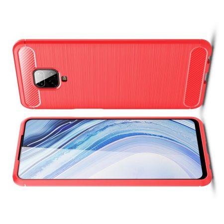 Carbon Fibre Силиконовый матовый бампер чехол для Xiaomi Redmi Note 9 Pro Красный