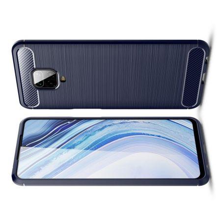 Carbon Fibre Силиконовый матовый бампер чехол для Xiaomi Redmi Note 9 Pro Синий