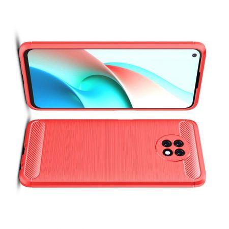 Carbon Fibre Силиконовый матовый бампер чехол для Xiaomi Redmi Note 9T Красный