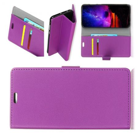 Чехол Книжка из Гладкой Искусственной Кожи для Alcatel 7 с Кошельком для Карты Фиолетовый